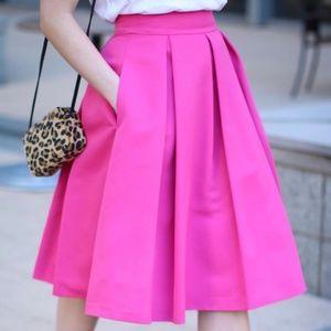 Eliza J hot pink pleated midi skirt